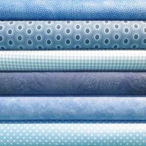 Blue colour coordinates 6 fat quarter pack