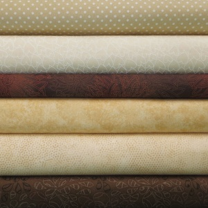 Brown and cream colour coordinates 6 fat quarter pack
