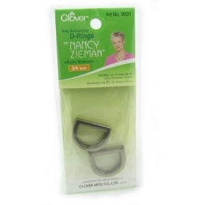 Clover 18mm metal D ring - satin bronze