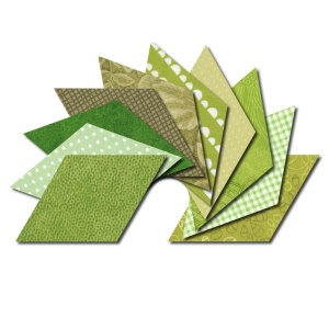 Diamond fabric charm packs - green prints