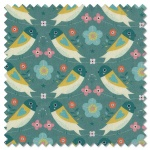 Hedgerow - birds turquoise (per 1/4 metre)