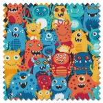 Outer Space - aliens blue (per 1/4 metre)