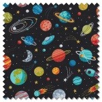 Outer Space - planets black (per 1/4 metre)