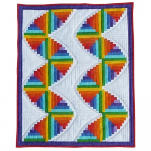 Rainbow log cabin cot quilt kit (26.5 inch x 32.5 inch)
