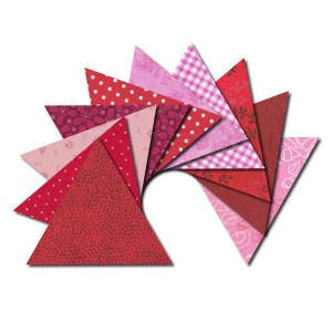 Triangle fabric charm packs - red & pink prints