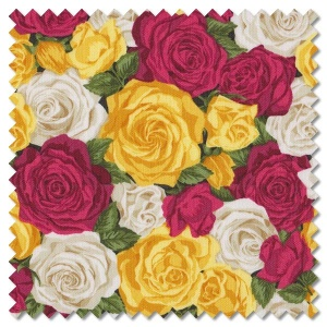 Summer Garden - rose bouquet yellow (per 1/4 metre)