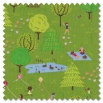 Sunday Picnic - a day in the park green (per 1/4 metre)