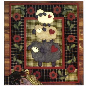 Wooly Sheep wallhanging quilt kit (13inch x 15inch)