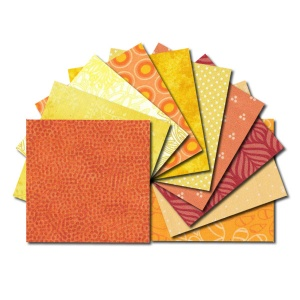 Square fabric charm packs - yellow and orange prints