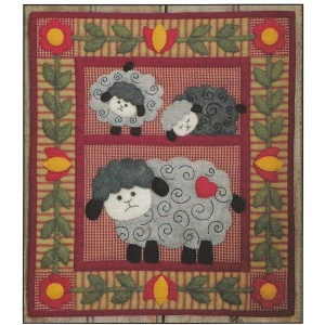 Twin Lambs wallhanging quilt kit (13inch x 15inch)