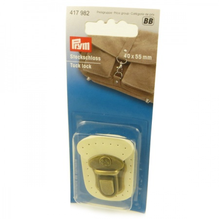 Prym  antique brass/cream leather tuck lock bag fastening