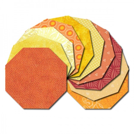 Octagon fabric charm packs - yellow and orange prints