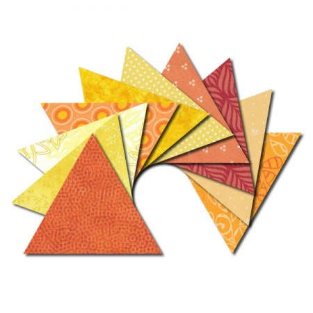 Triangle fabric charm packs - yellow and orange prints